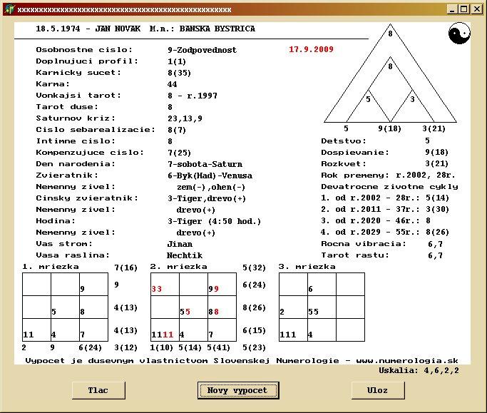 Numero-program Osobný Lite ukážka